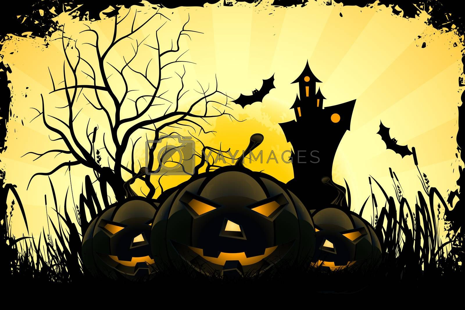Grunge Halloween Party Background with Pumpkins, House, Tree, Grass and Bats