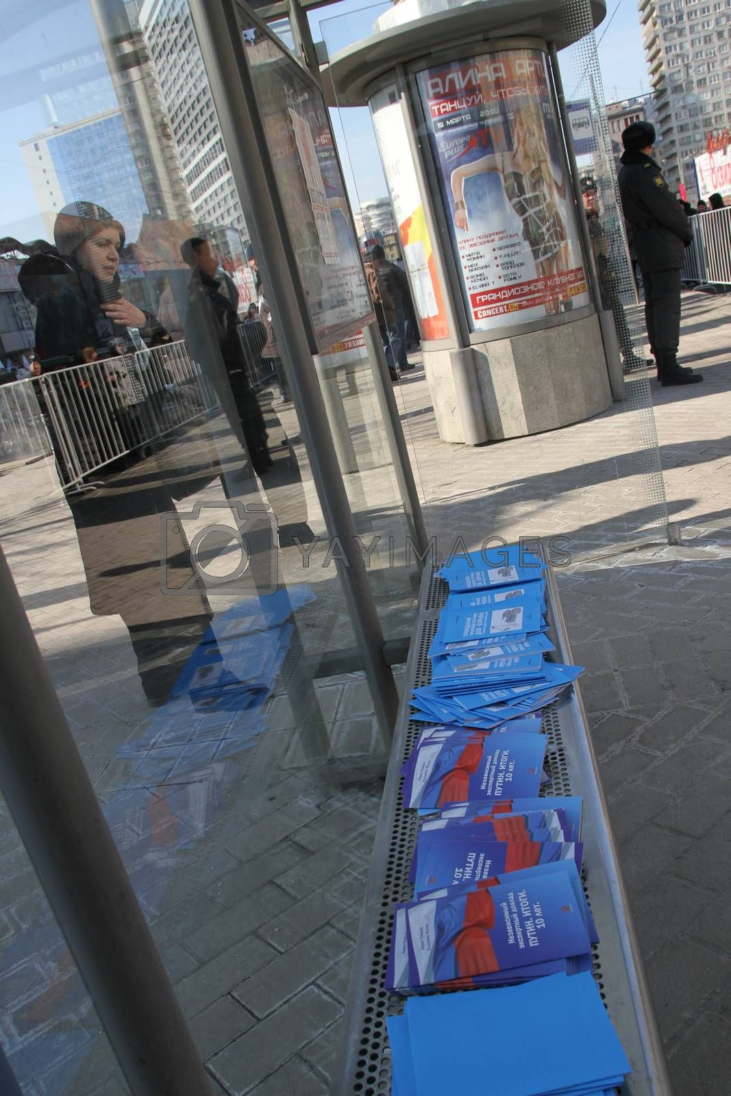 An independent report by Boris Nemtsov Putin Results laid out at the bus stop next to the opposition rally by olegkozyrev
