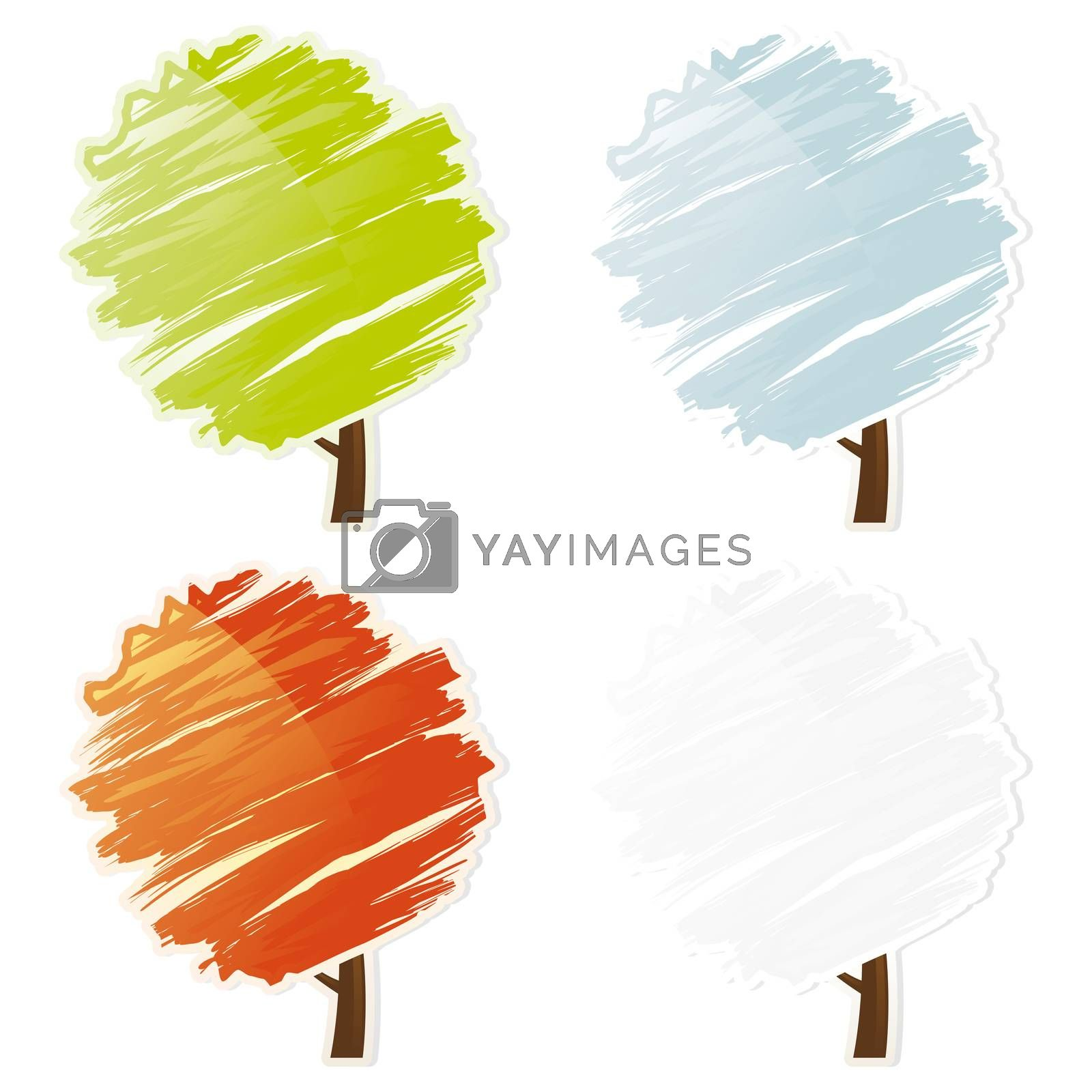 Four color abstract tree icon set by WaD