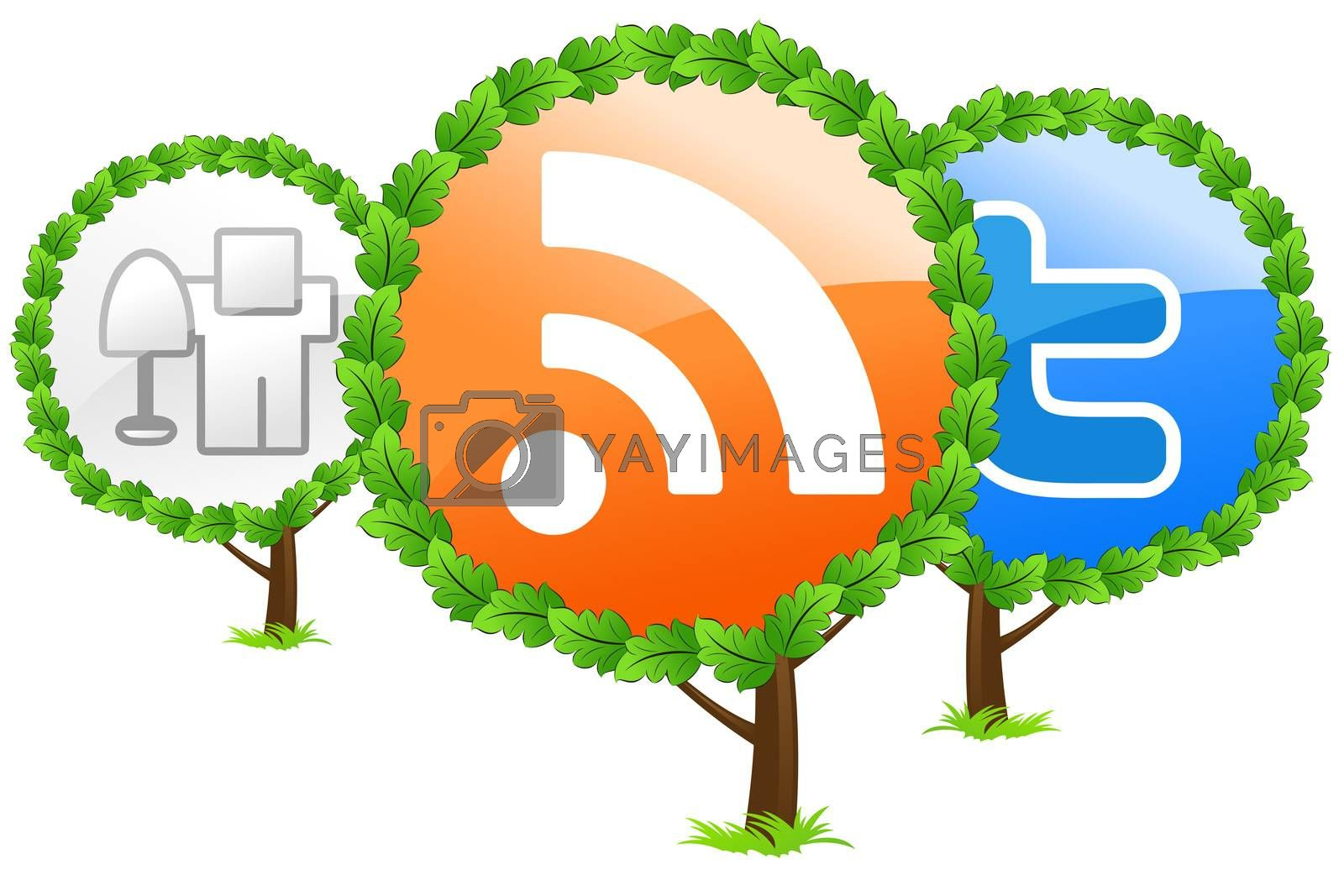 Social media trees icon by WaD
