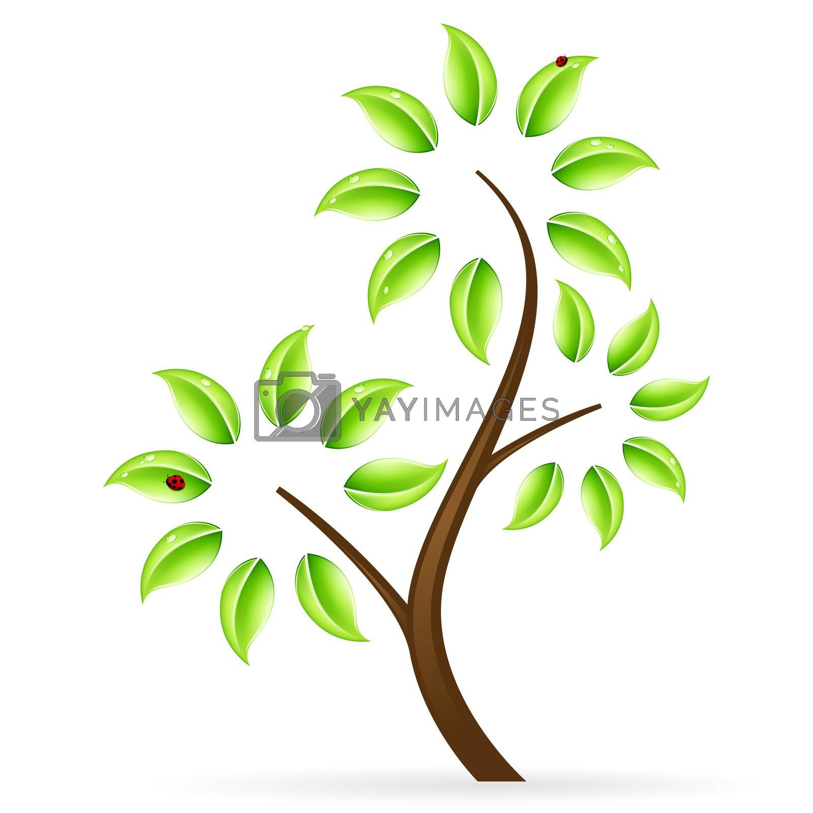 Abstract green tree icon by WaD