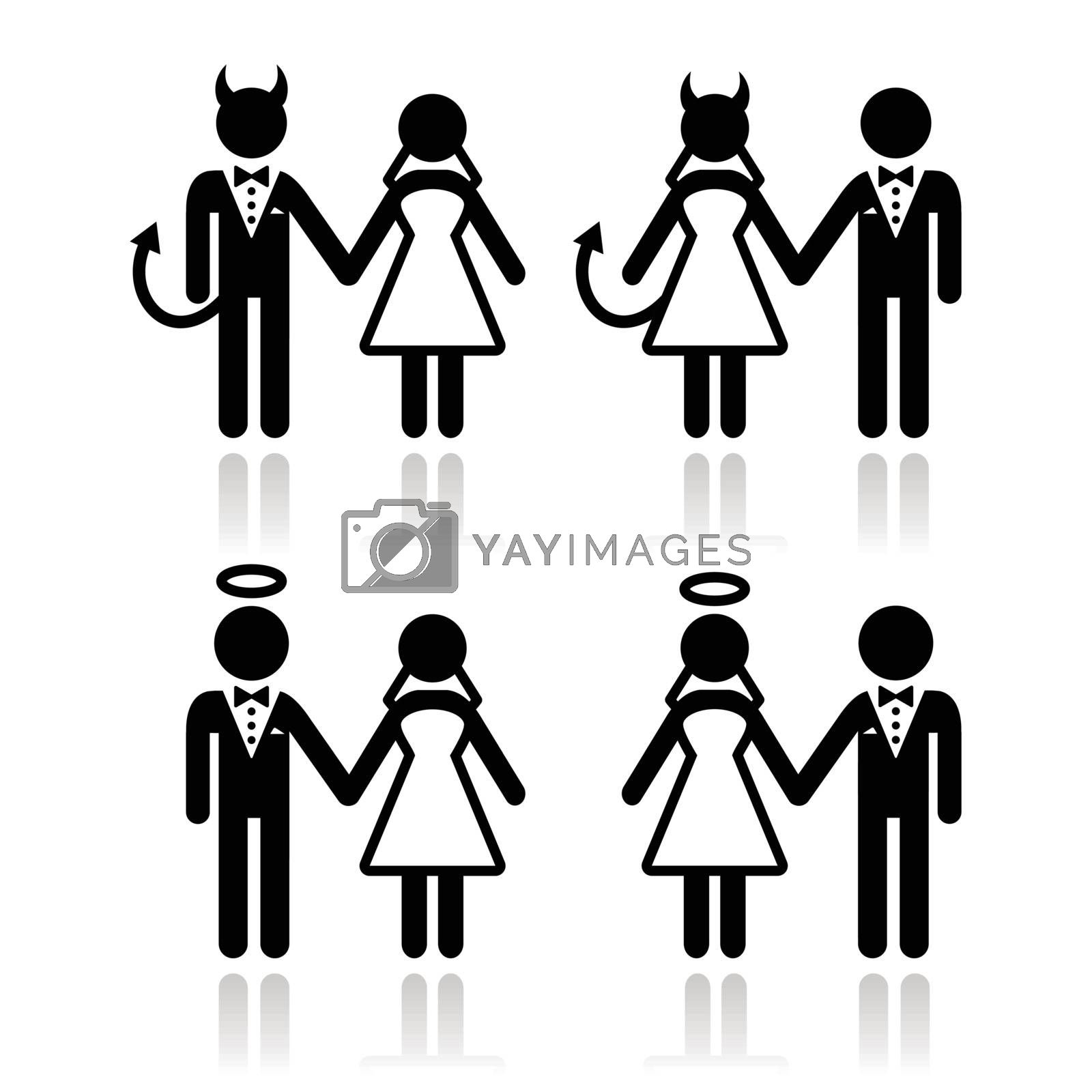 Wedding couple - devil and angel bride and groom icons by RedKoala