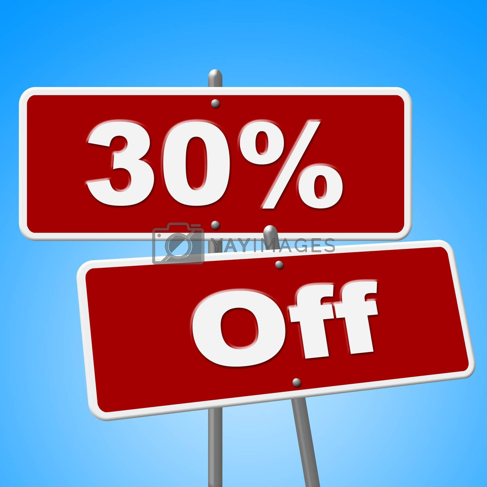 Thirty Percent Off Represents Savings Discounts And Sale by stuartmiles