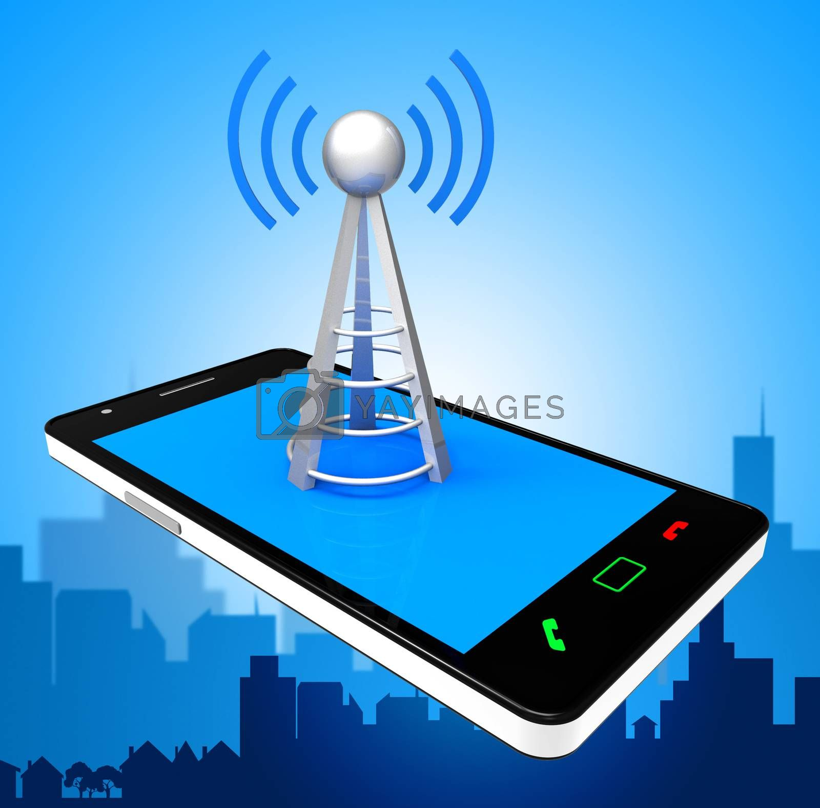 Smartphone Wifi Indicates World Wide Web And Antenna by stuartmiles