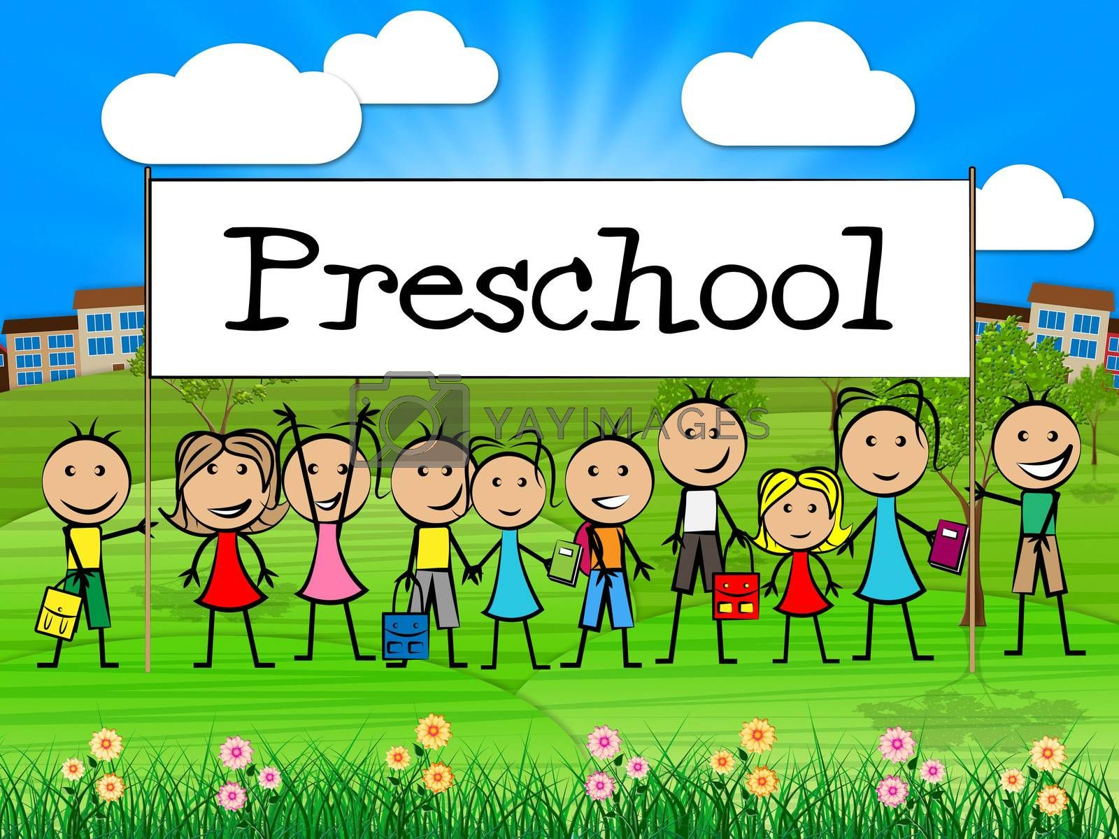 Preschool Kids Banner Represents Childrens Toddlers And Childhoo by stuartmiles