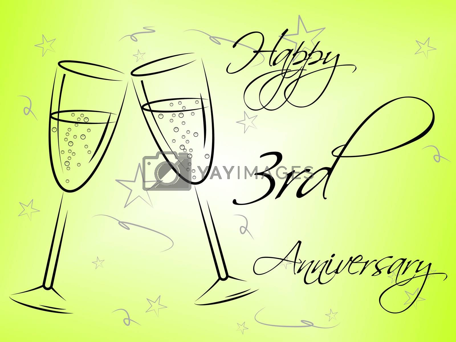 Happy Third Anniversary Indicates Romantic Salutation And Joy by stuartmiles