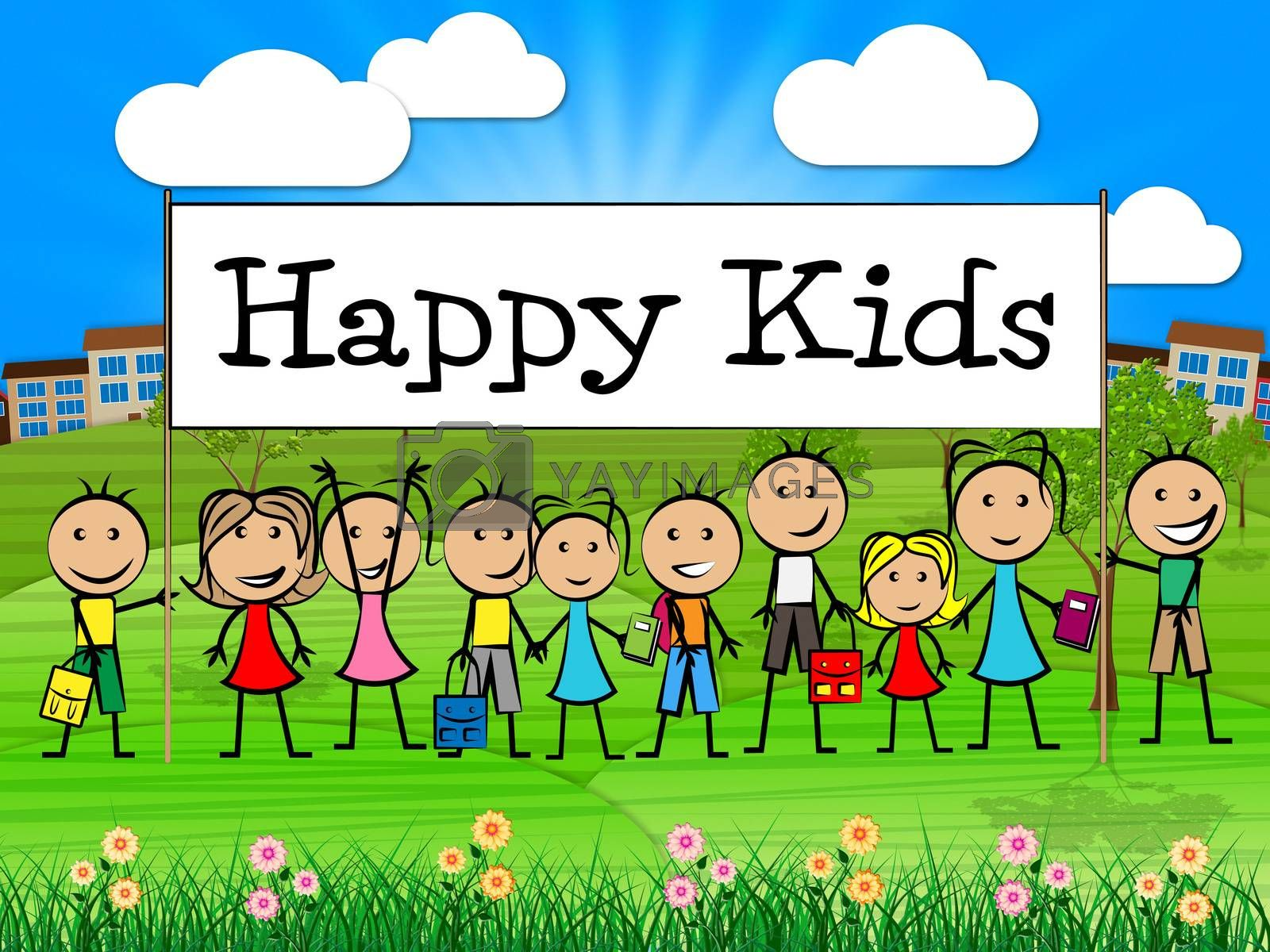 Happy Kids Banner Shows Childhood Happiness And Toddlers by stuartmiles