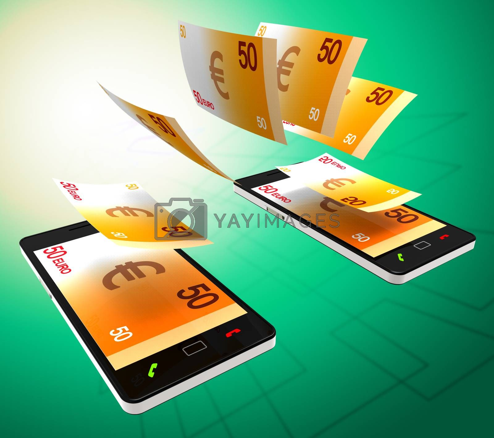 Euros Transfer Represents Cellphone Money And Banking by stuartmiles