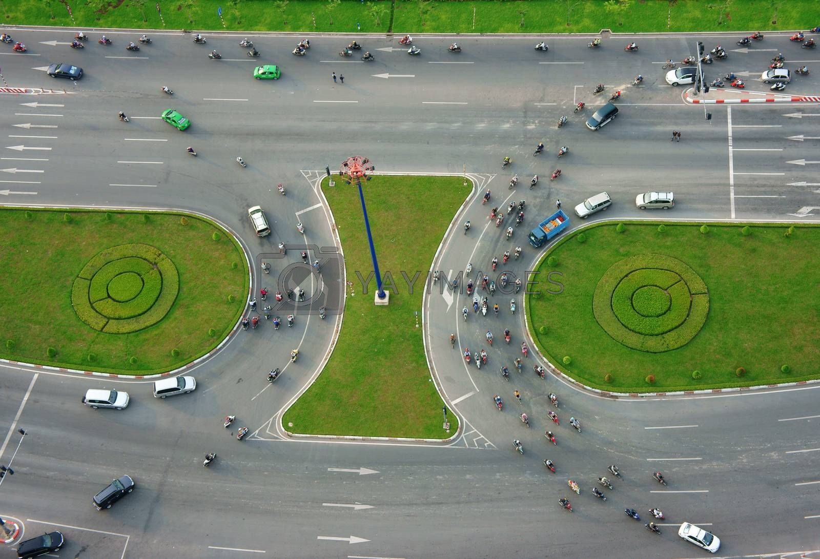Abstract scene of traffic at crossroad by xuanhuongho