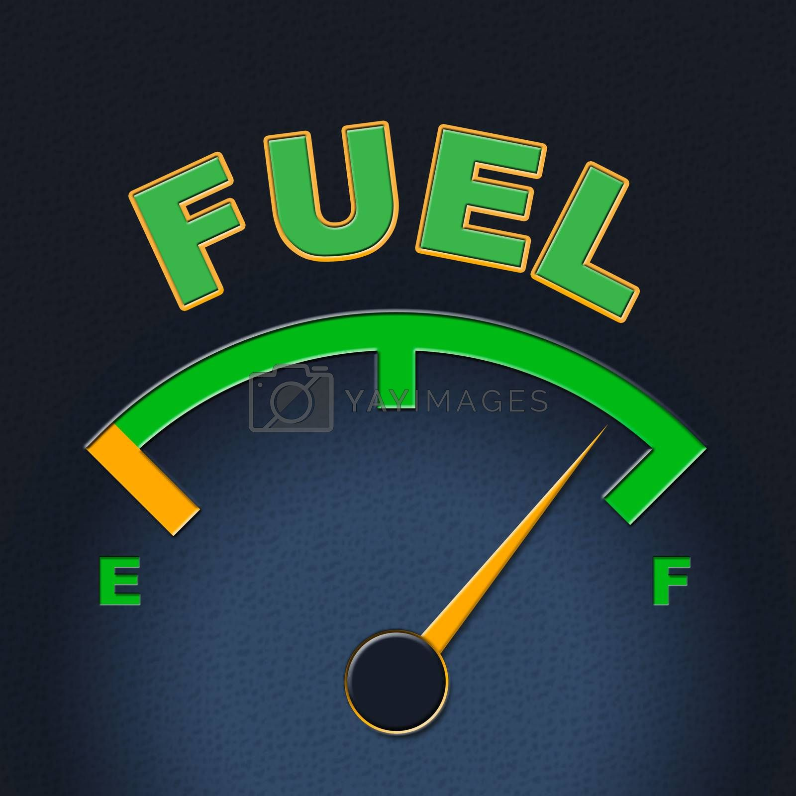 Fuel Gauge Represents Power Source And Dial by stuartmiles