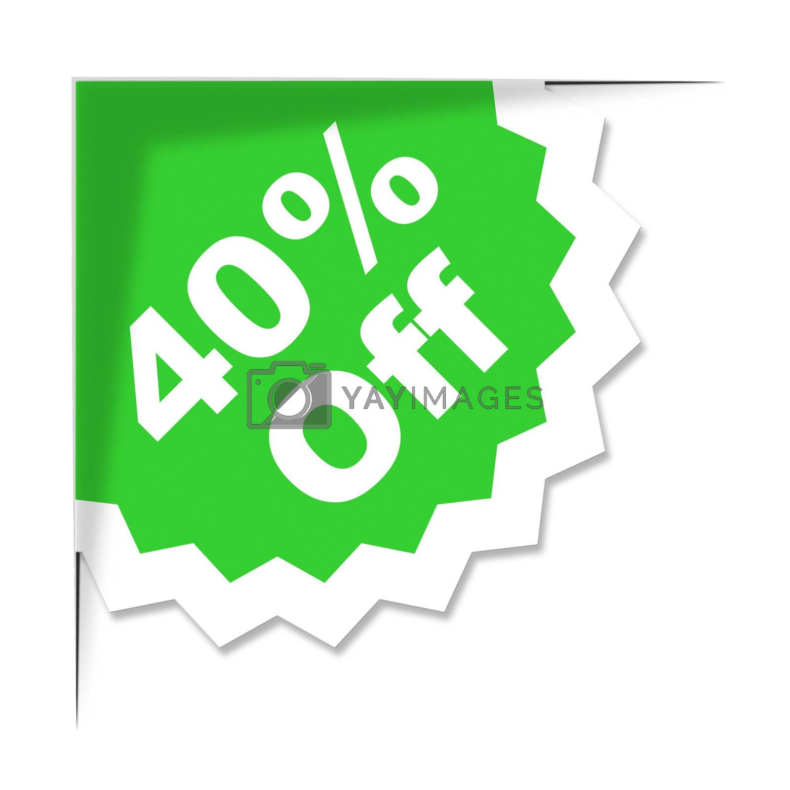 Forty Percent Off Represents Promotional Discount And Discounts by stuartmiles