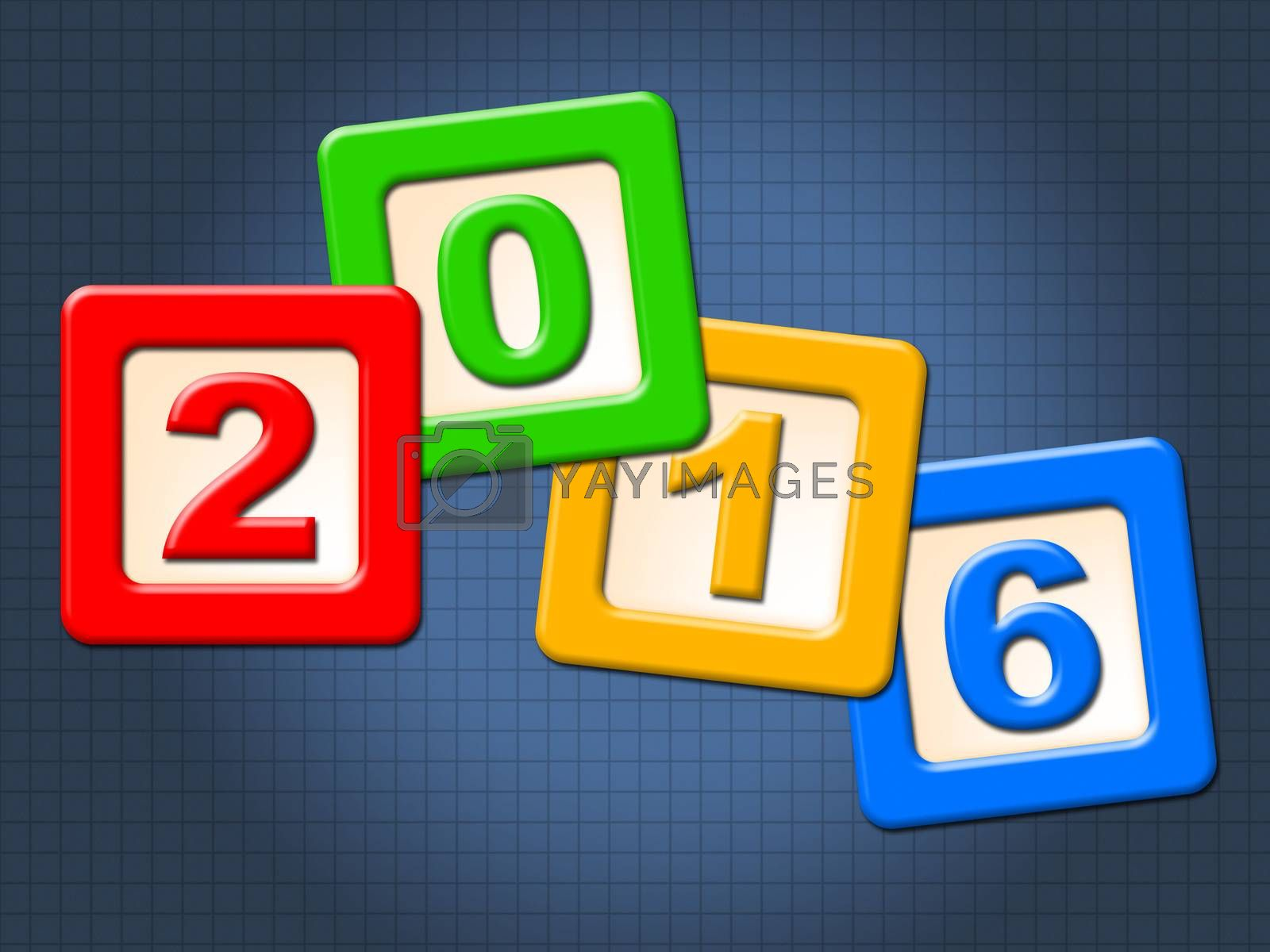 Twenty Sixteen Blocks Indicates Happy New Year And Kids by stuartmiles
