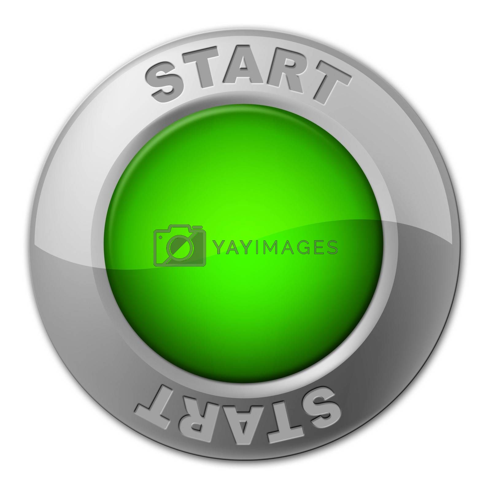 Start Button Represents Act Now And Begin by stuartmiles