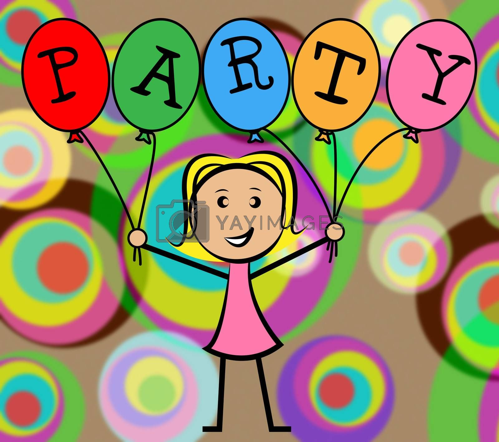 Party Balloons Represents Young Woman And Kids by stuartmiles