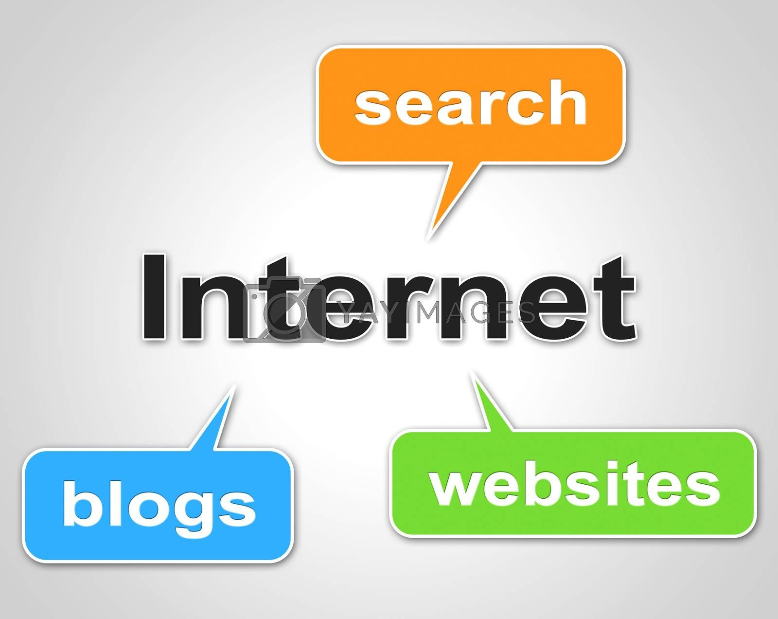 Internet Words Represents World Wide Web And Blog by stuartmiles