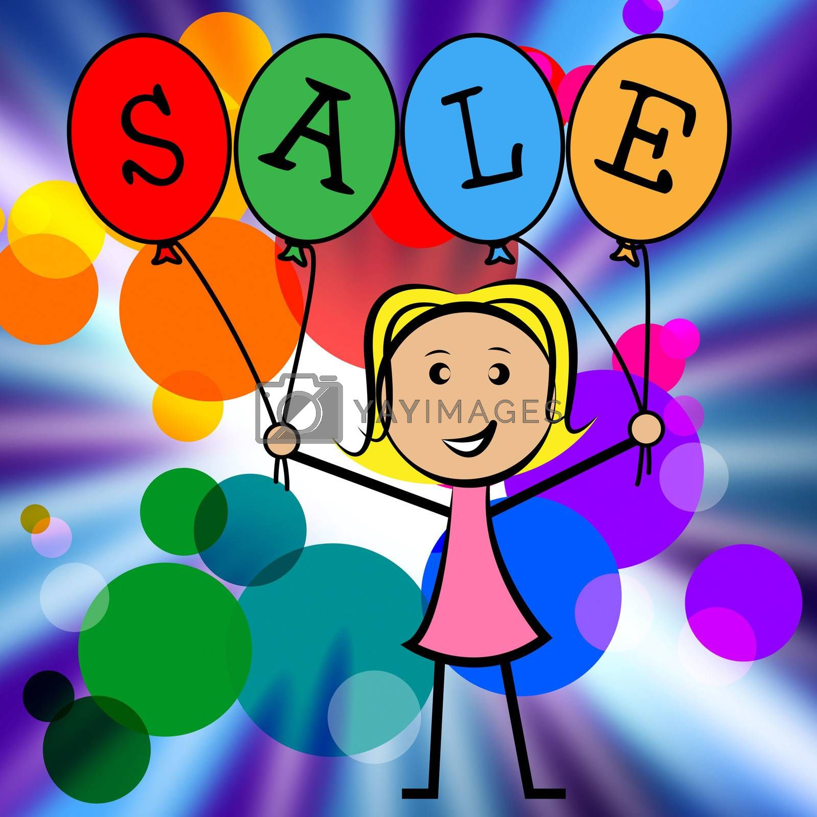 Sale Balloons Indicates Young Woman And Kids by stuartmiles