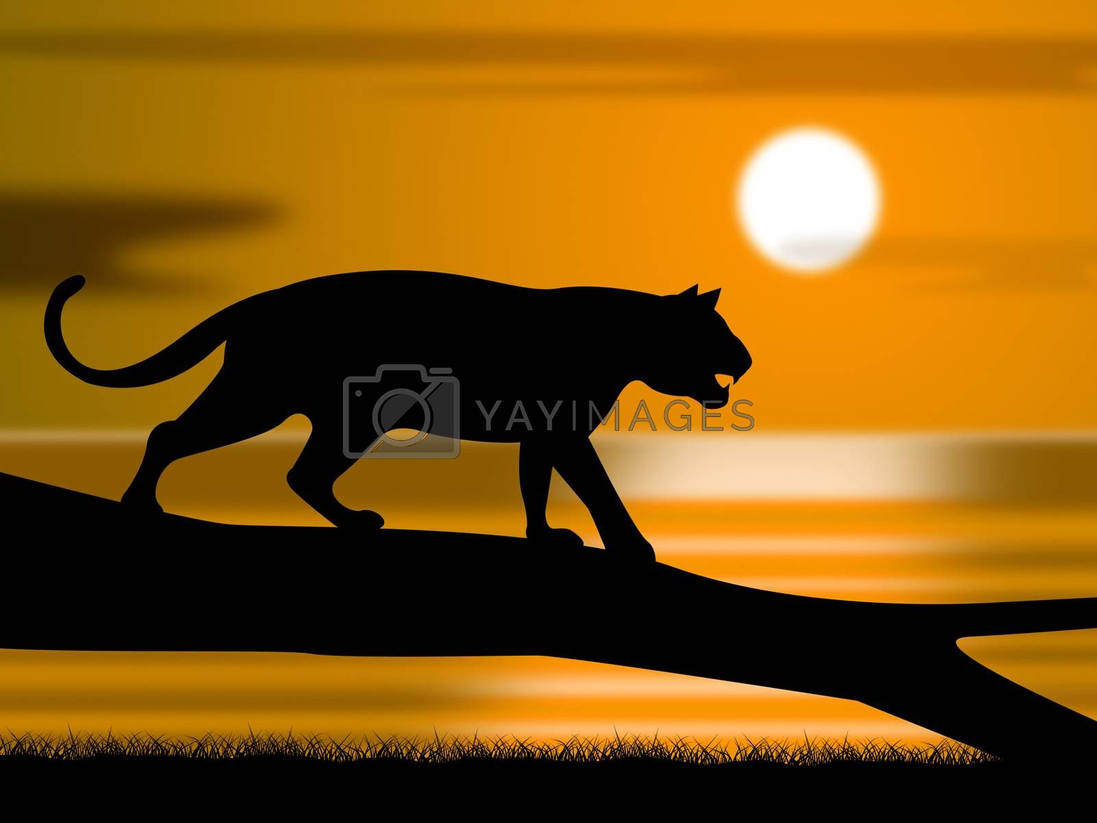 Tiger On Tree Represents Wildlife Animals And Astronomy by stuartmiles