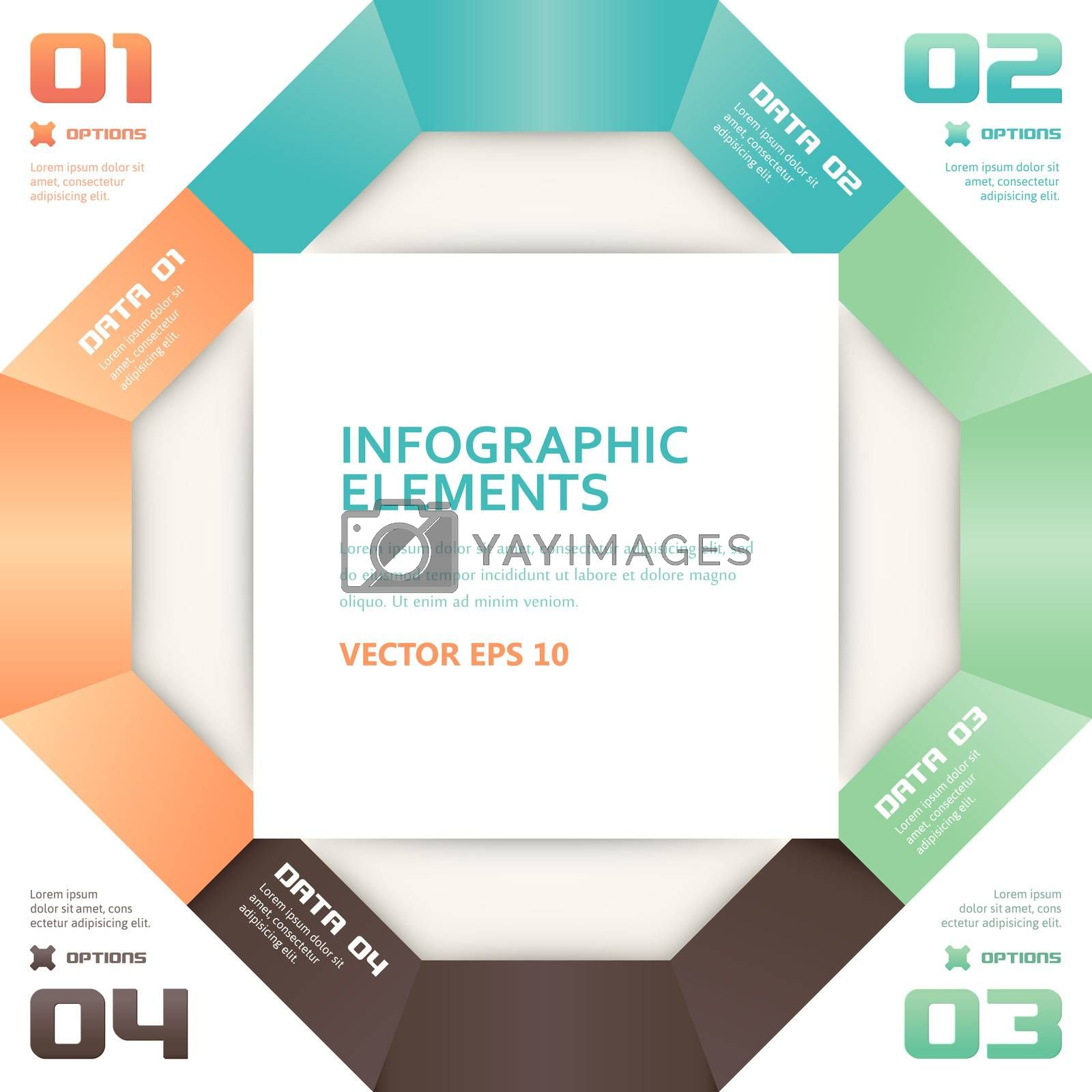 Modern Origami Style Number Options Infographics Banner by WaD