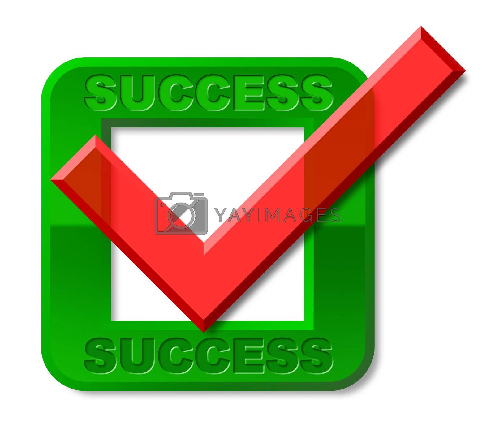 Success Tick Indicates Triumph Prevail And Victors by stuartmiles