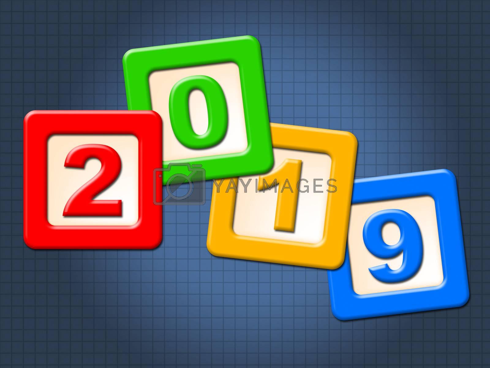 Twenty Nineteen Blocks Shows Happy New Year And Kids by stuartmiles