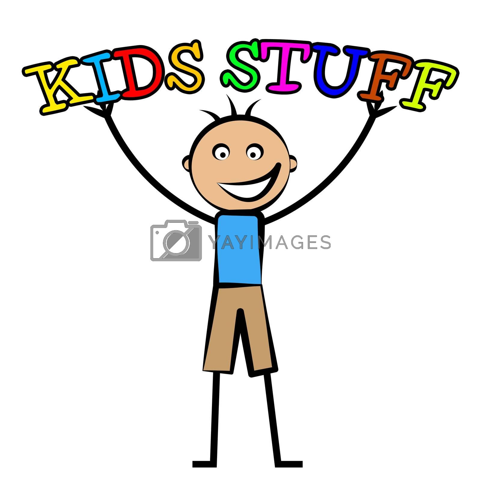 Kids Stuff Represents Free Time And Child by stuartmiles