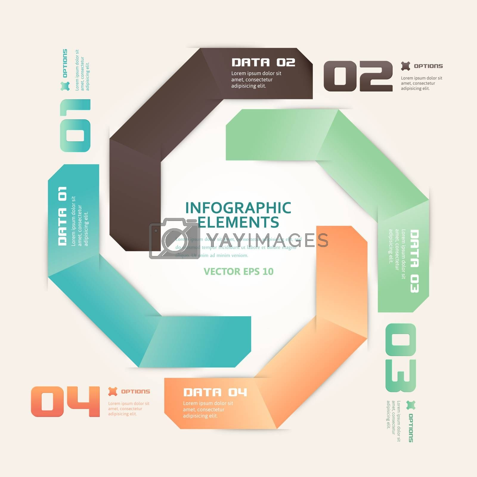 Modern Origami Style Number Options Infographics Illustration by WaD