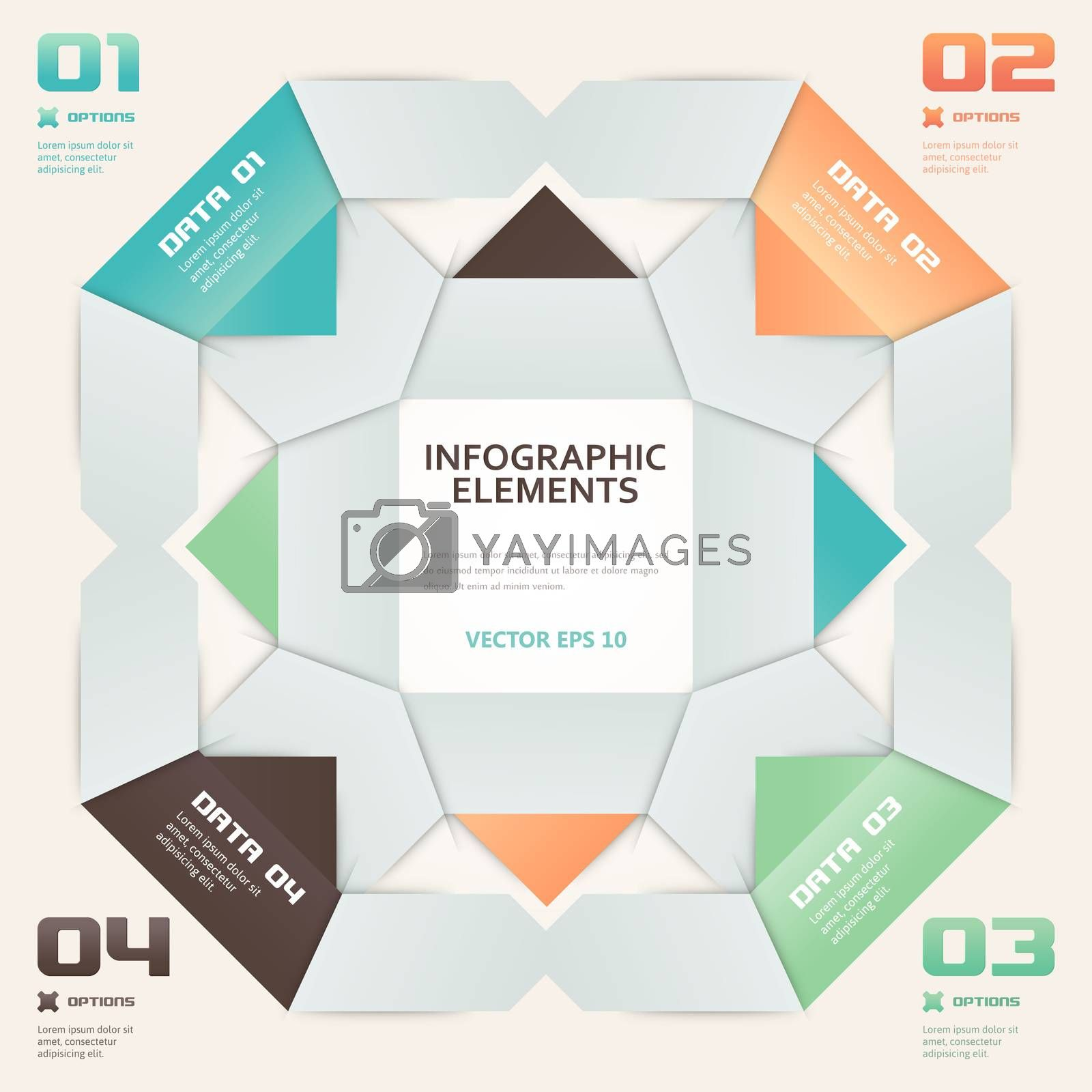 Modern Origami Style Number Options Infographic Illustration by WaD