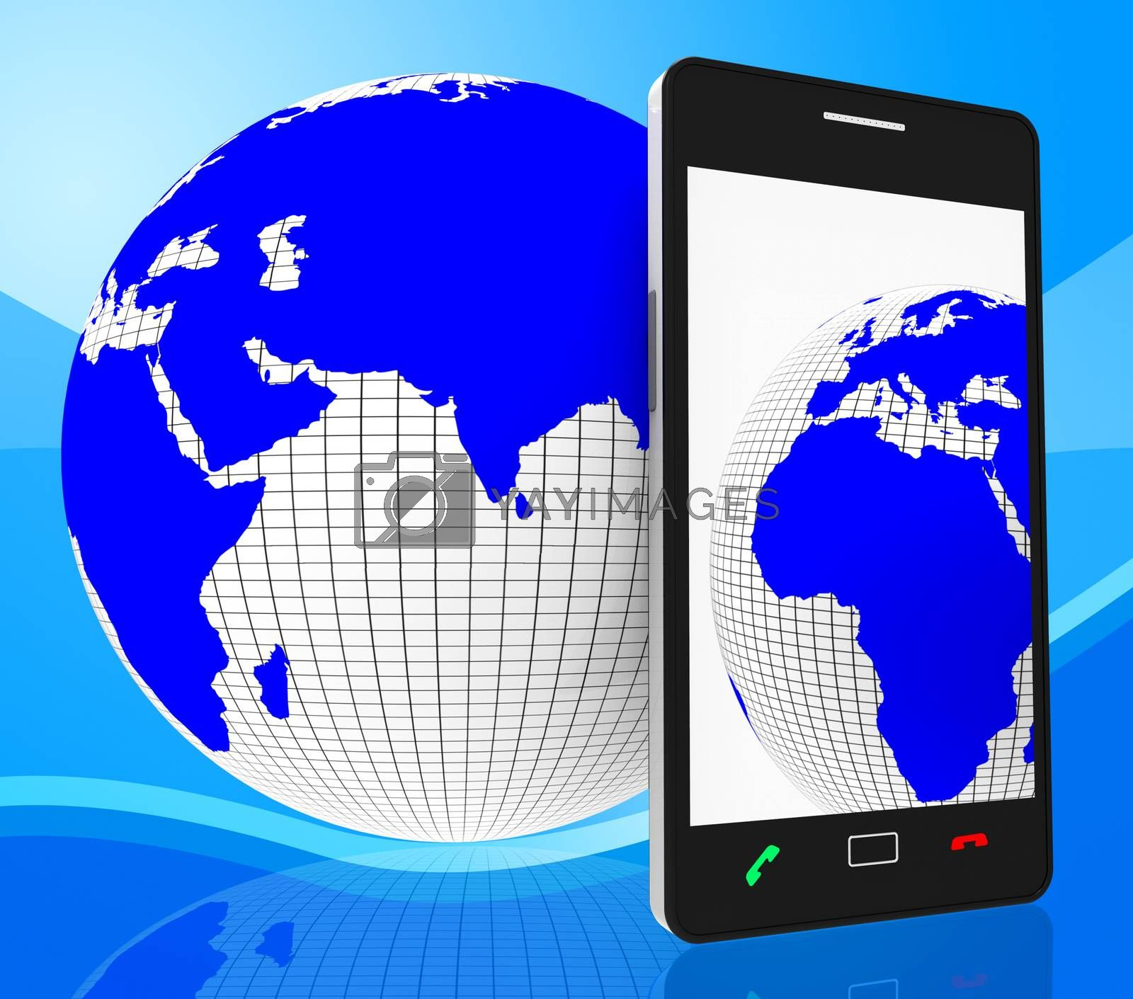 World Phone Represents Web Site And Cellphone by stuartmiles
