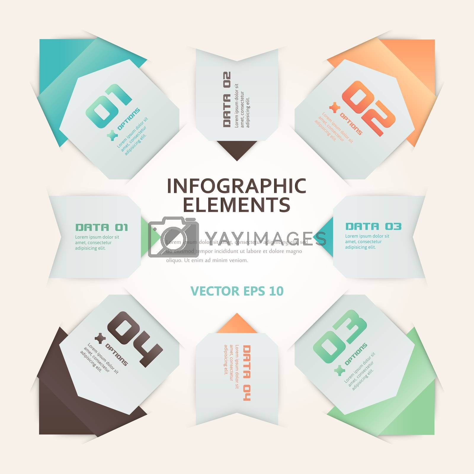 Modern Origami Style Infographic Illustration by WaD