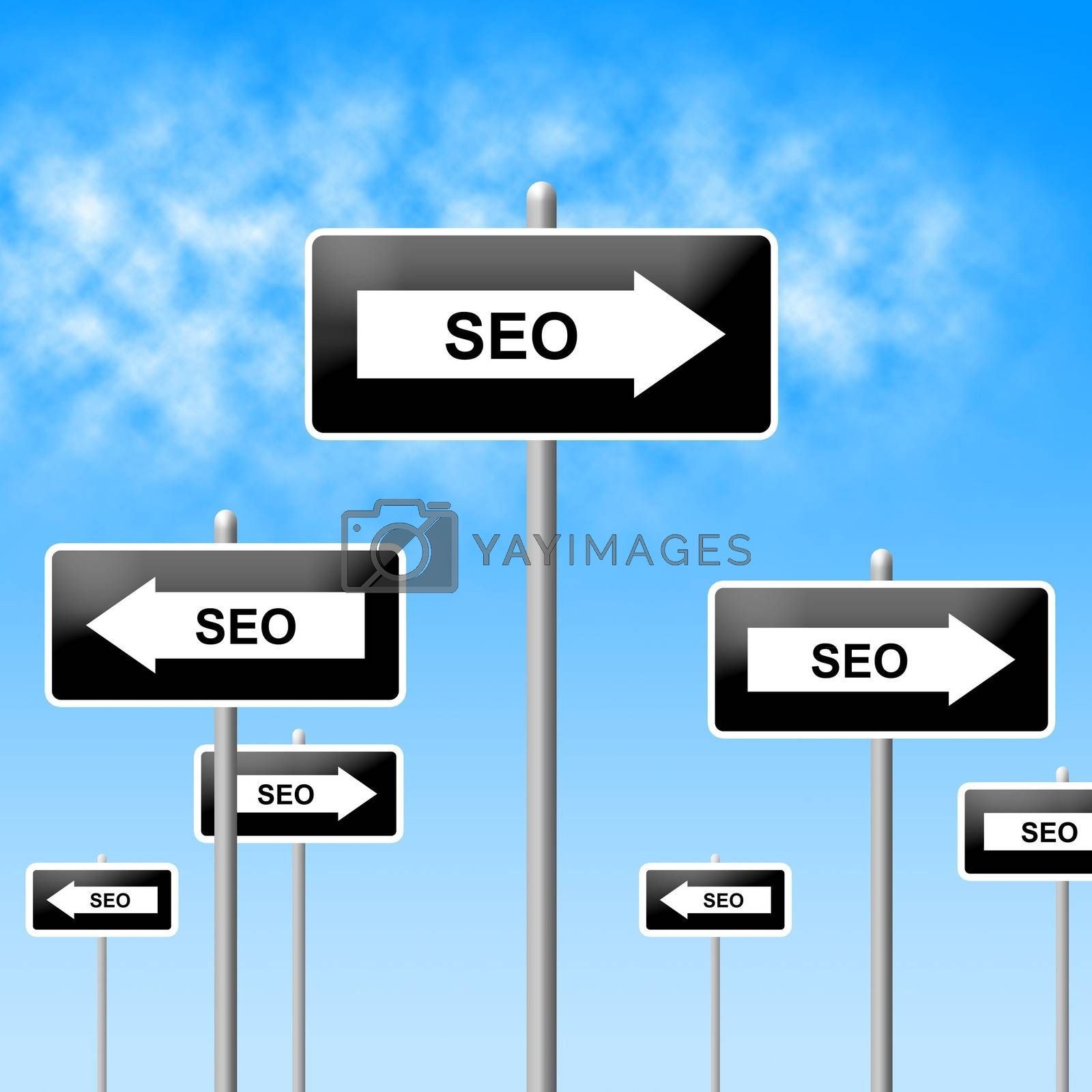Seo Sign Shows World Wide Web And Network by stuartmiles