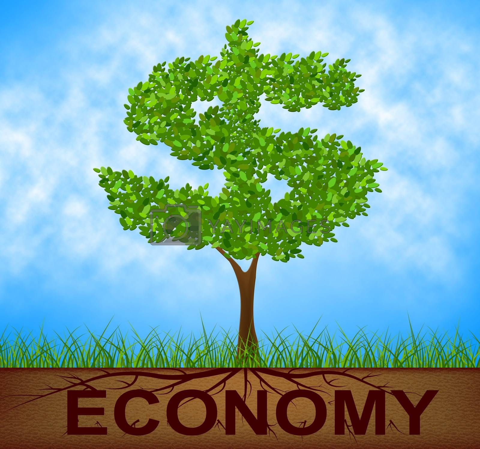 Economy Tree Represents American Dollars And Bank by stuartmiles