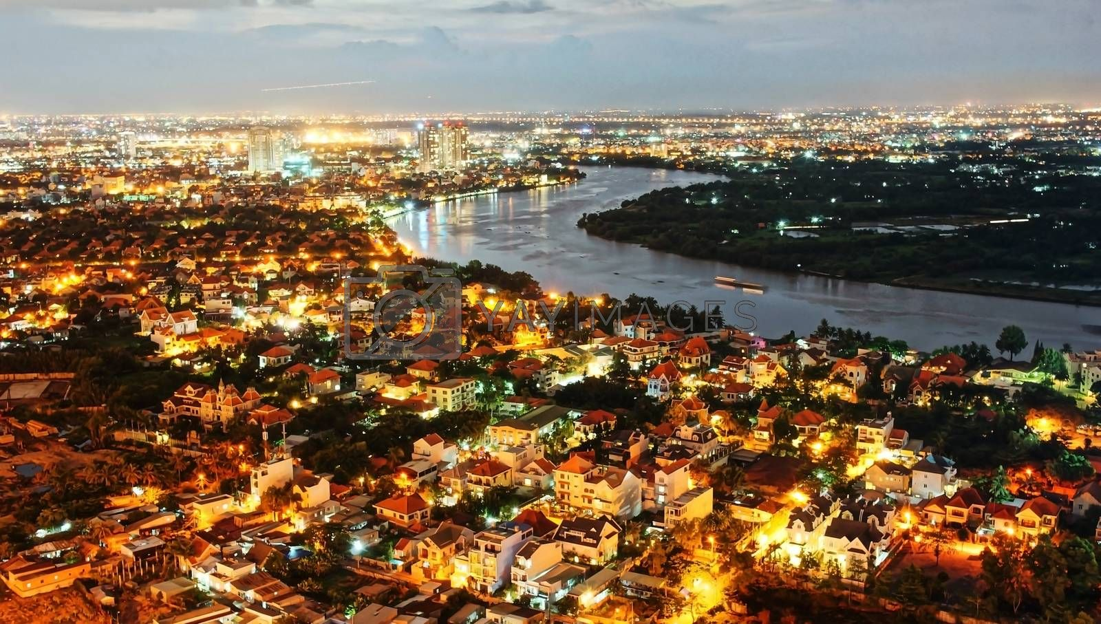 Impression night landscape of Ho Chi Minh city from high view by xuanhuongho