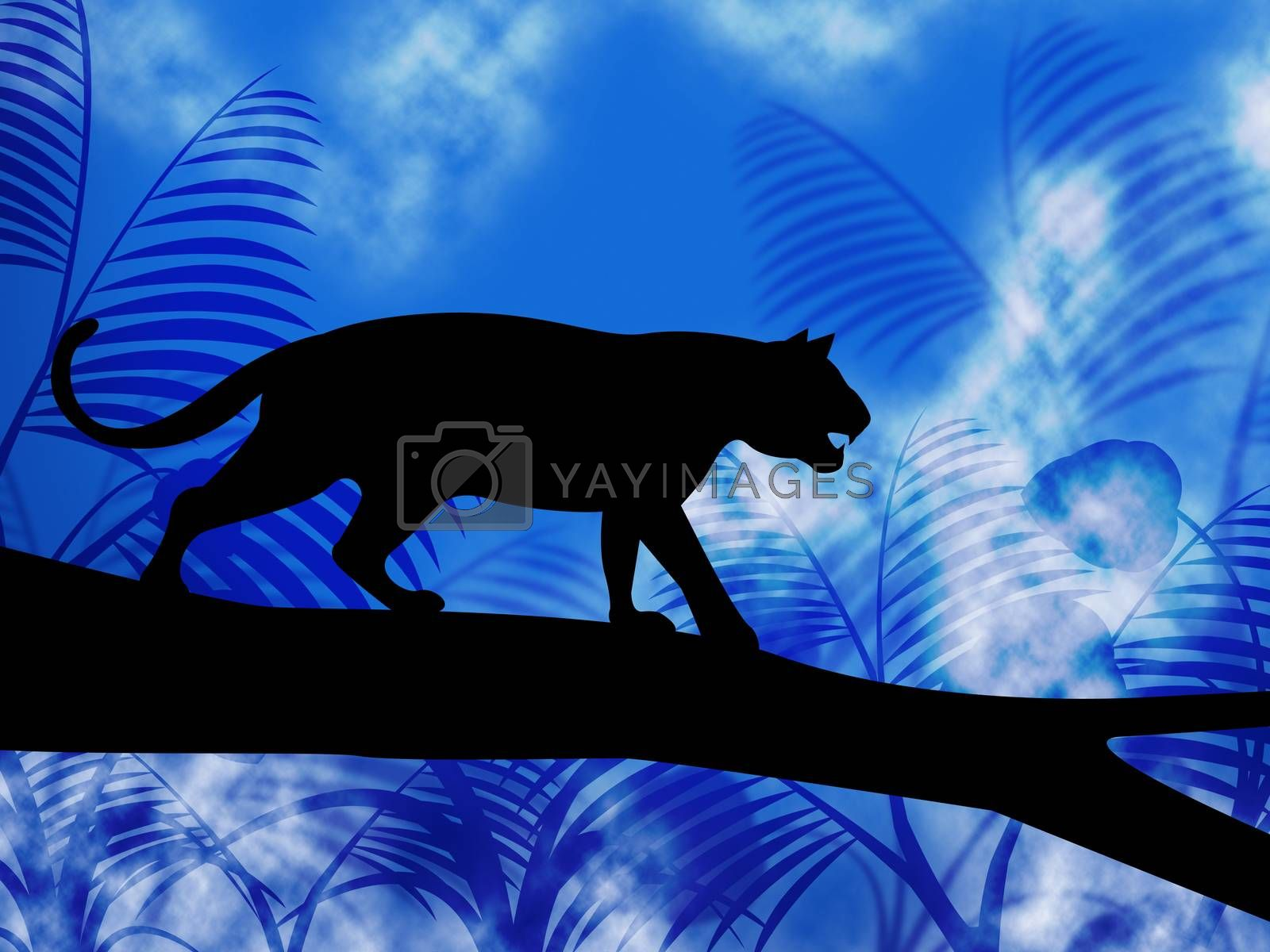 Tiger On Tree Indicates Jungle Animals And Cat by stuartmiles