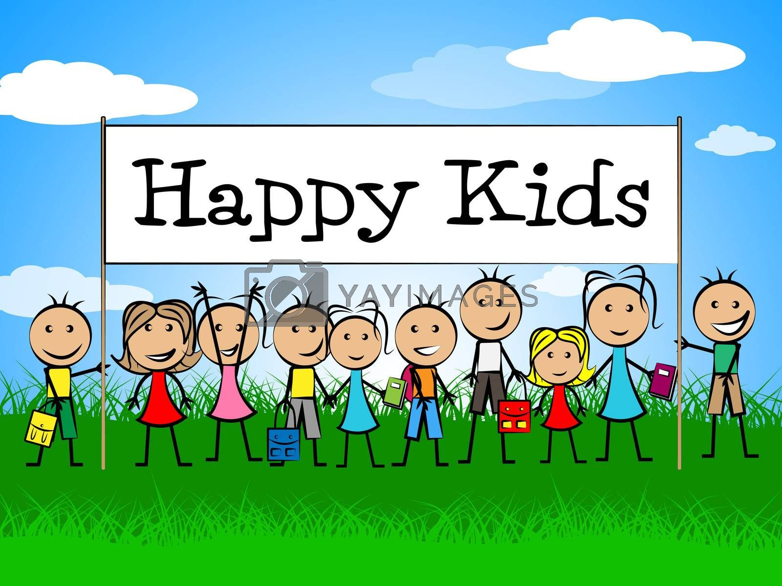 Happy Kids Banner Represents Jubilant Happiness And Child by stuartmiles
