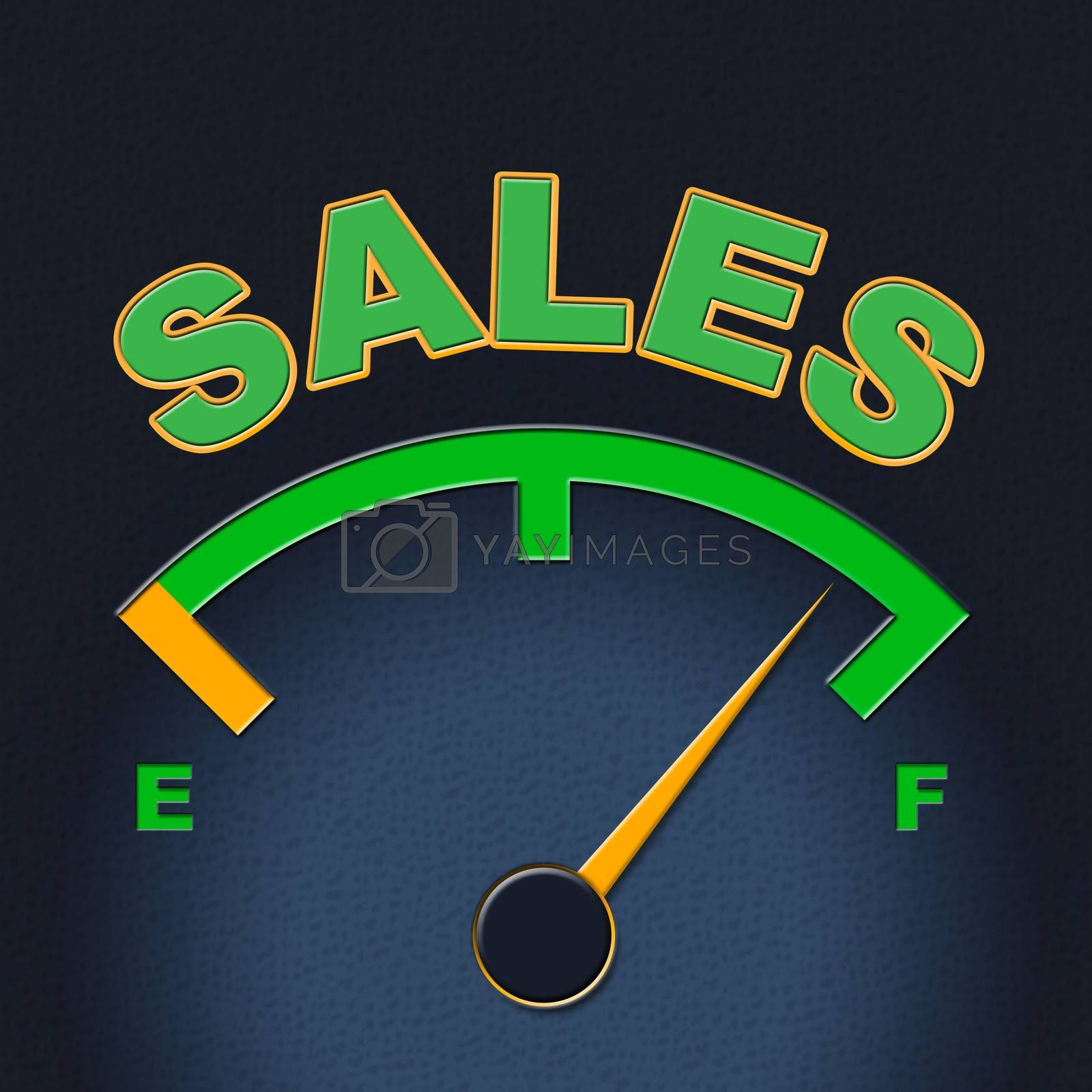 Sales Gauge Means Promotion Meter And Scale by stuartmiles