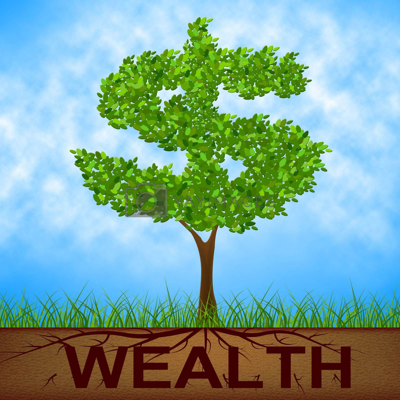 Wealth Tree Shows American Dollars And Branch by stuartmiles