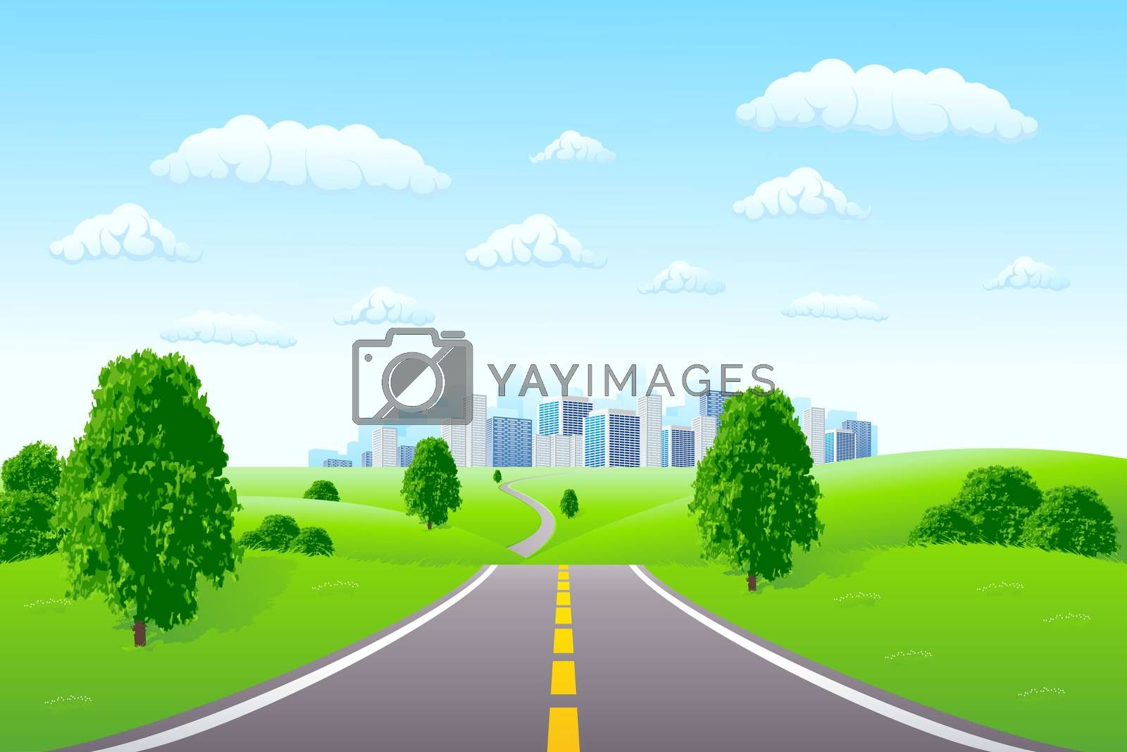 Landscape with city by WaD