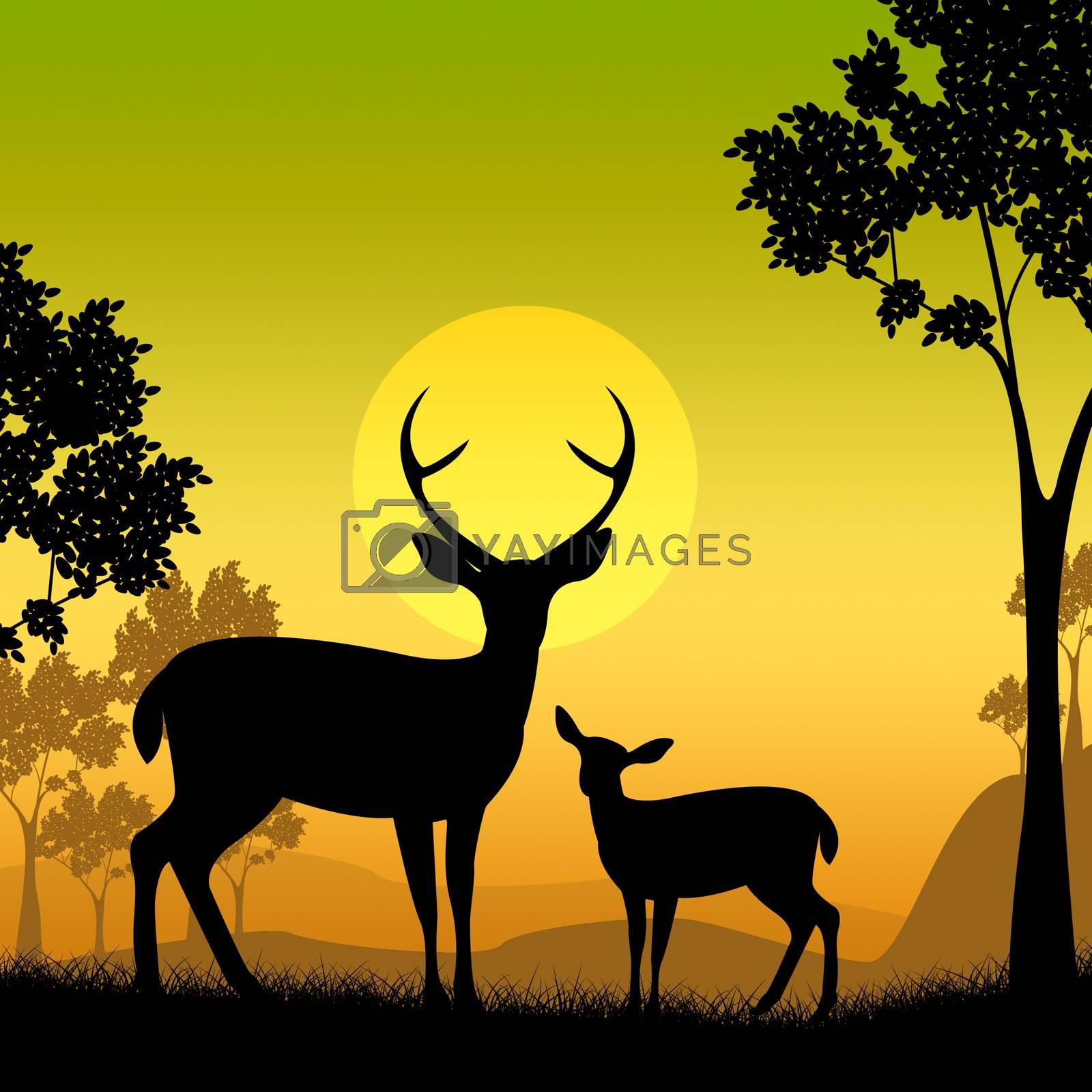 Deer Wildlife Indicates Safari Animals And Evening by stuartmiles