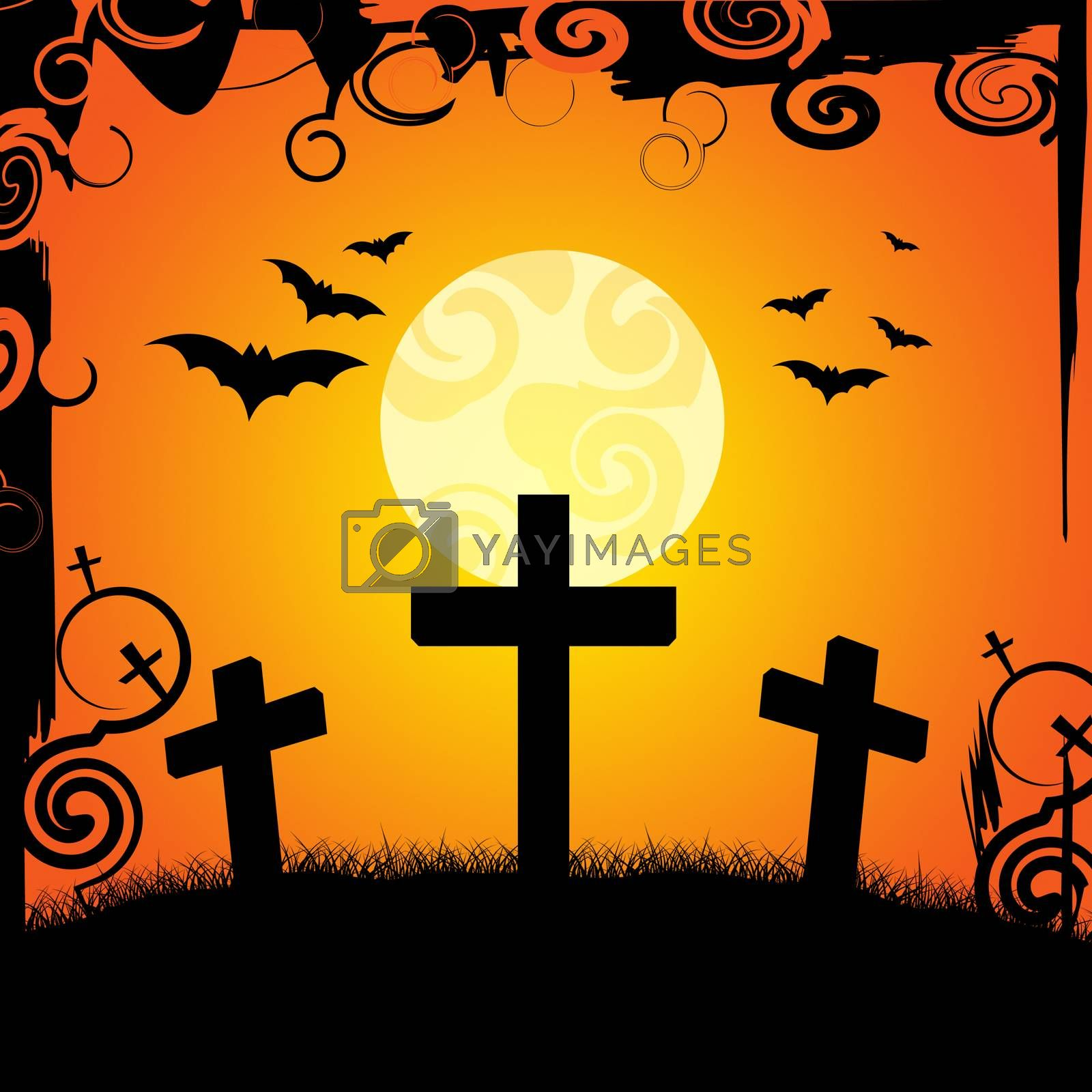 Halloween Graveyard Represents Trick Or Treat And Afterlife by stuartmiles