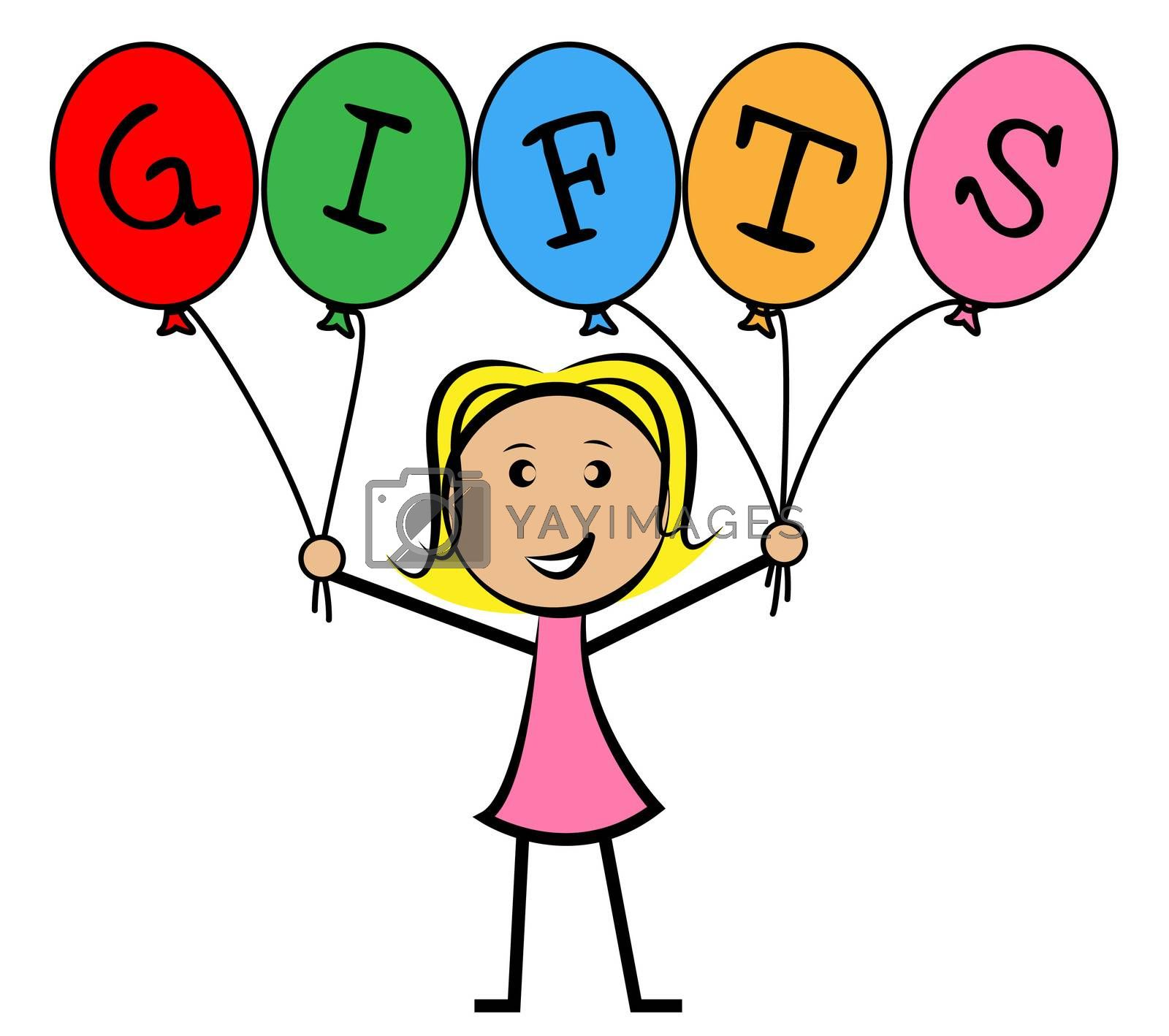 Gifts Balloons Means Young Woman And Kids by stuartmiles