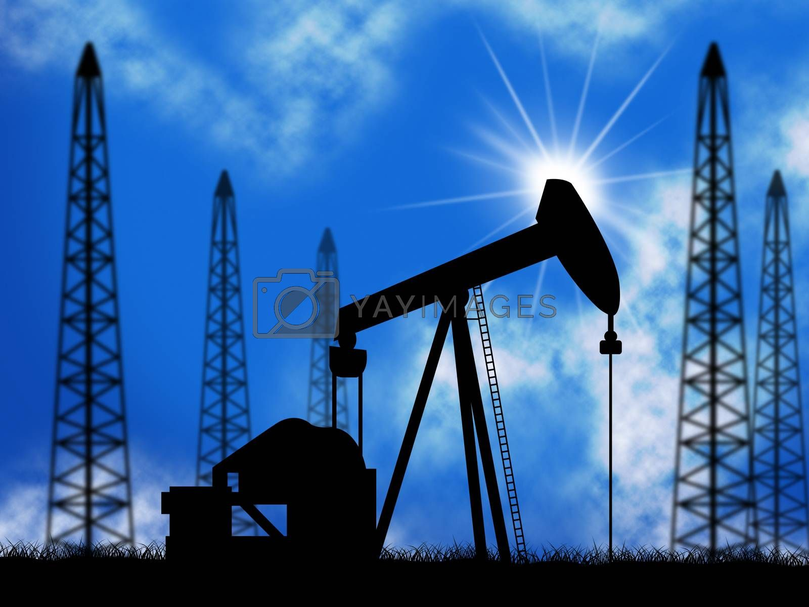 Oil Wells Means Power Source And Drill by stuartmiles