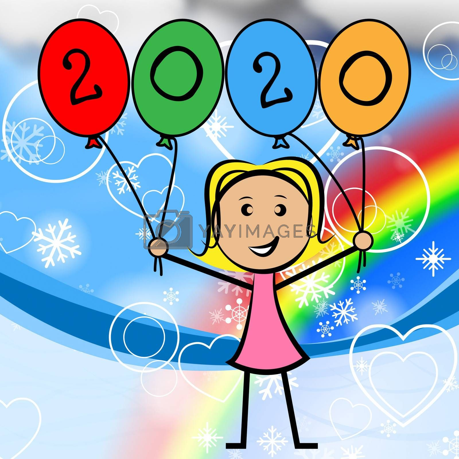 Balloons Kids Indicates Young Woman And Lassie by stuartmiles