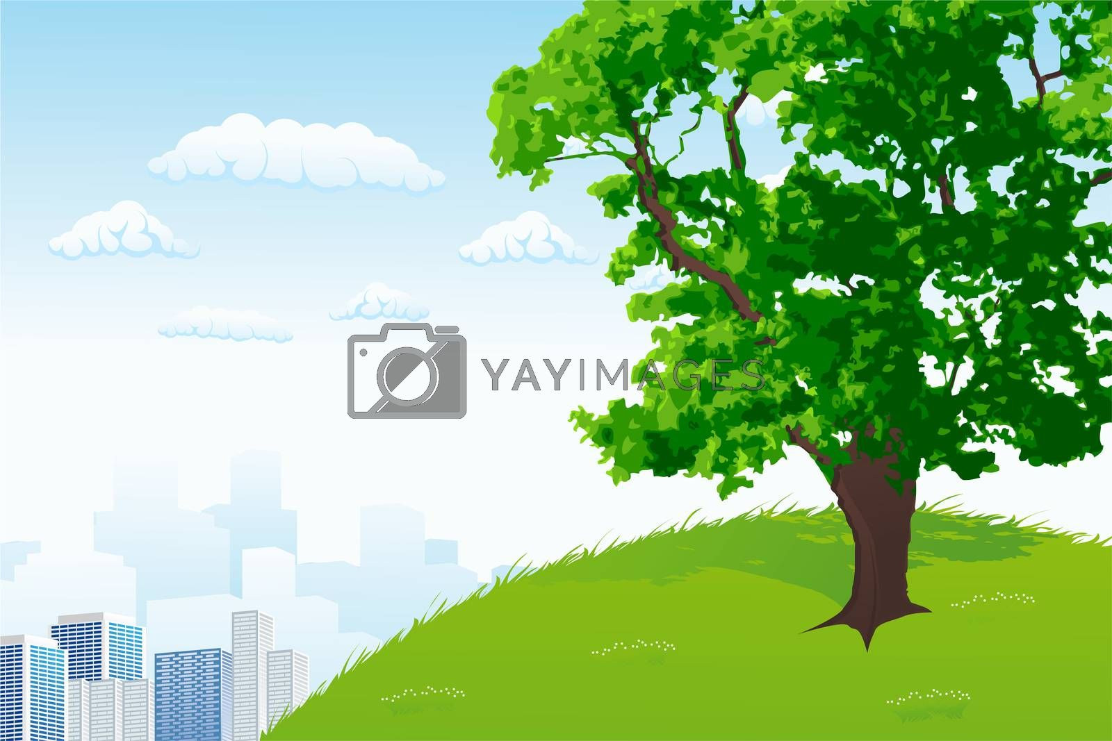 Tree with city panorama by WaD