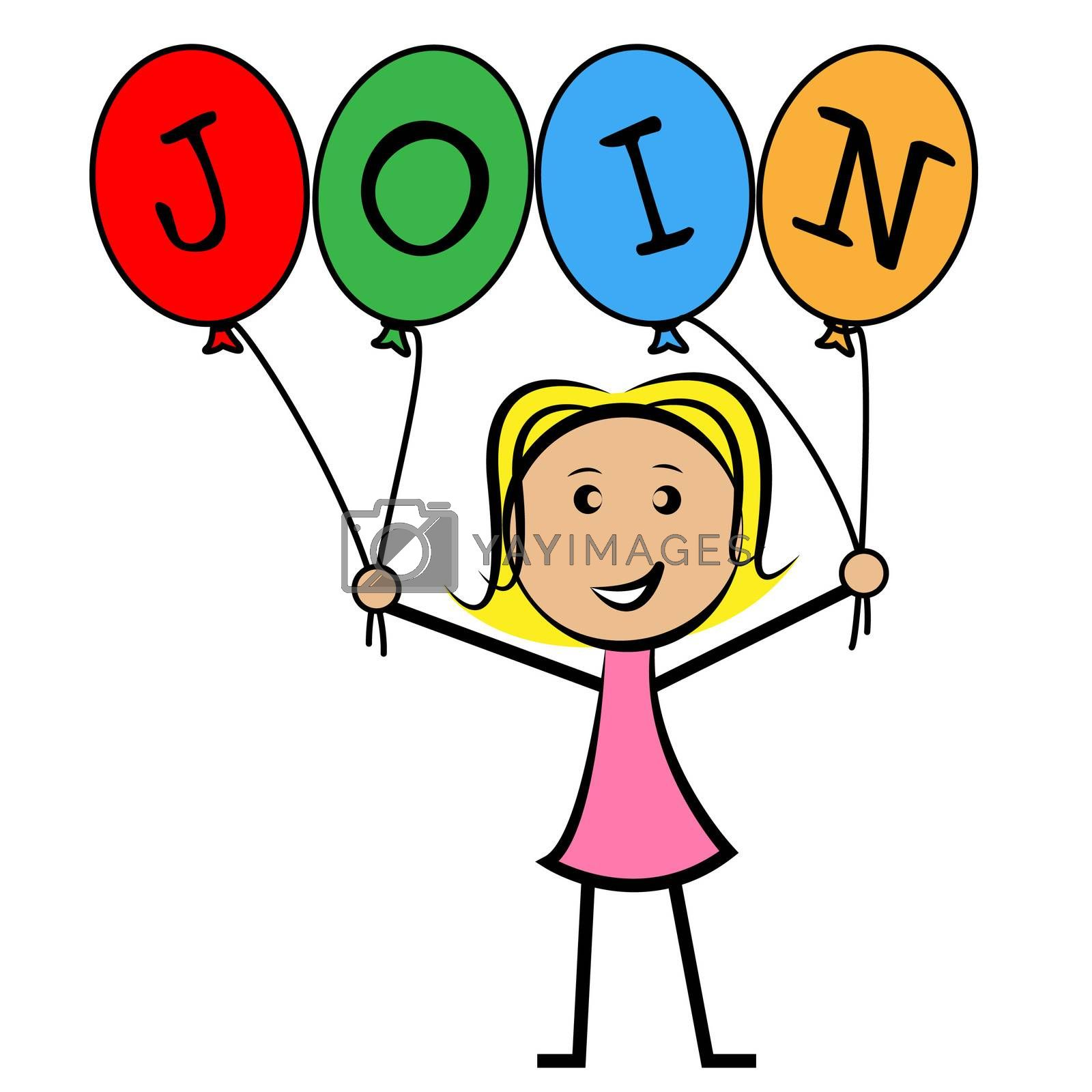 Join Balloons Indicates Sign Up And Kids by stuartmiles