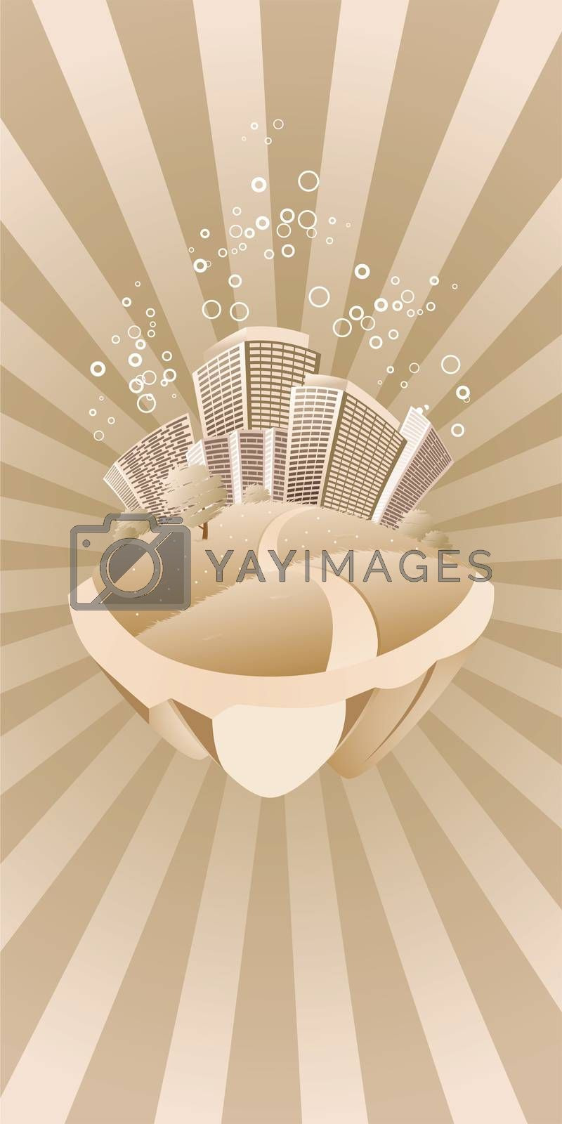 Abstract styled flying city by WaD