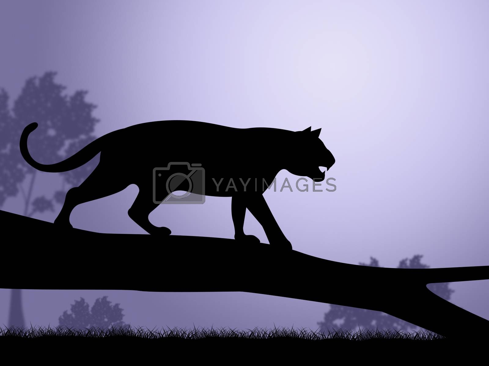 Tiger On Tree Indicates Wild Animals And Predator by stuartmiles