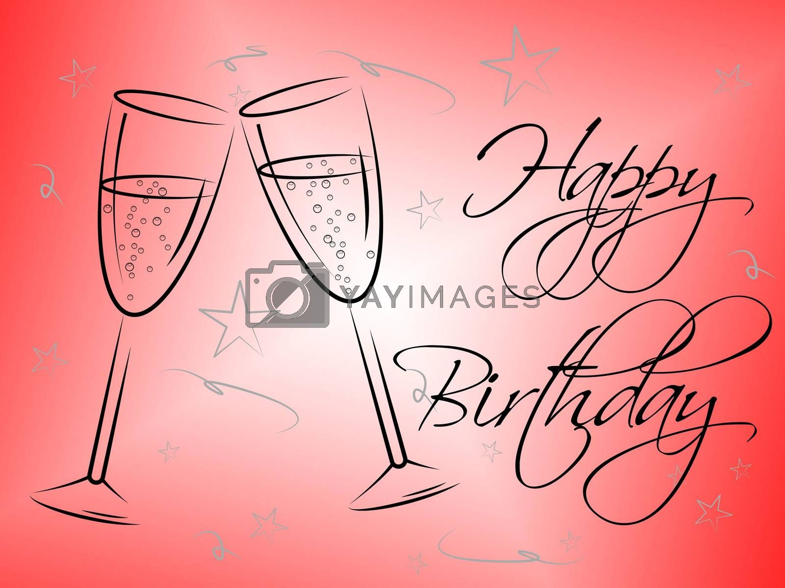 Happy Birthday Glasses Indicates Congratulating Happiness And Greeting by stuartmiles