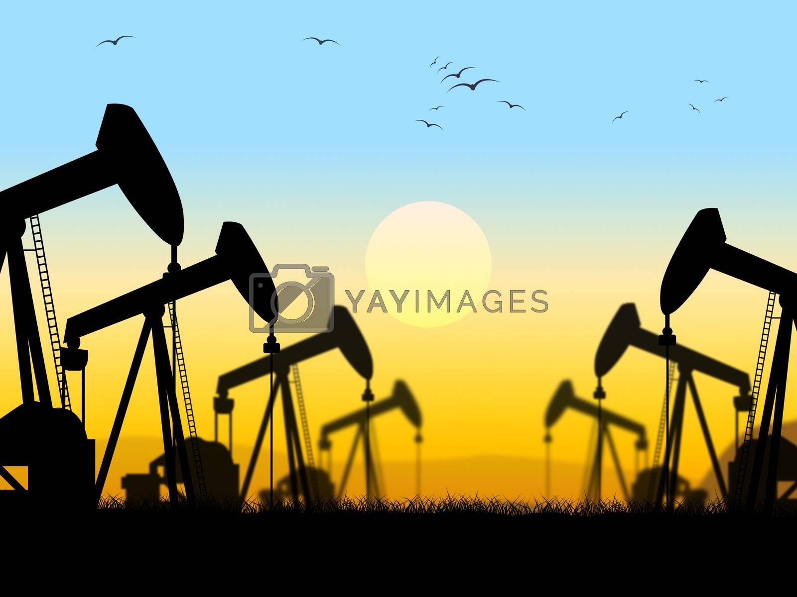 Oil Wells Shows Nonrenewable Fuel And Exploration by stuartmiles