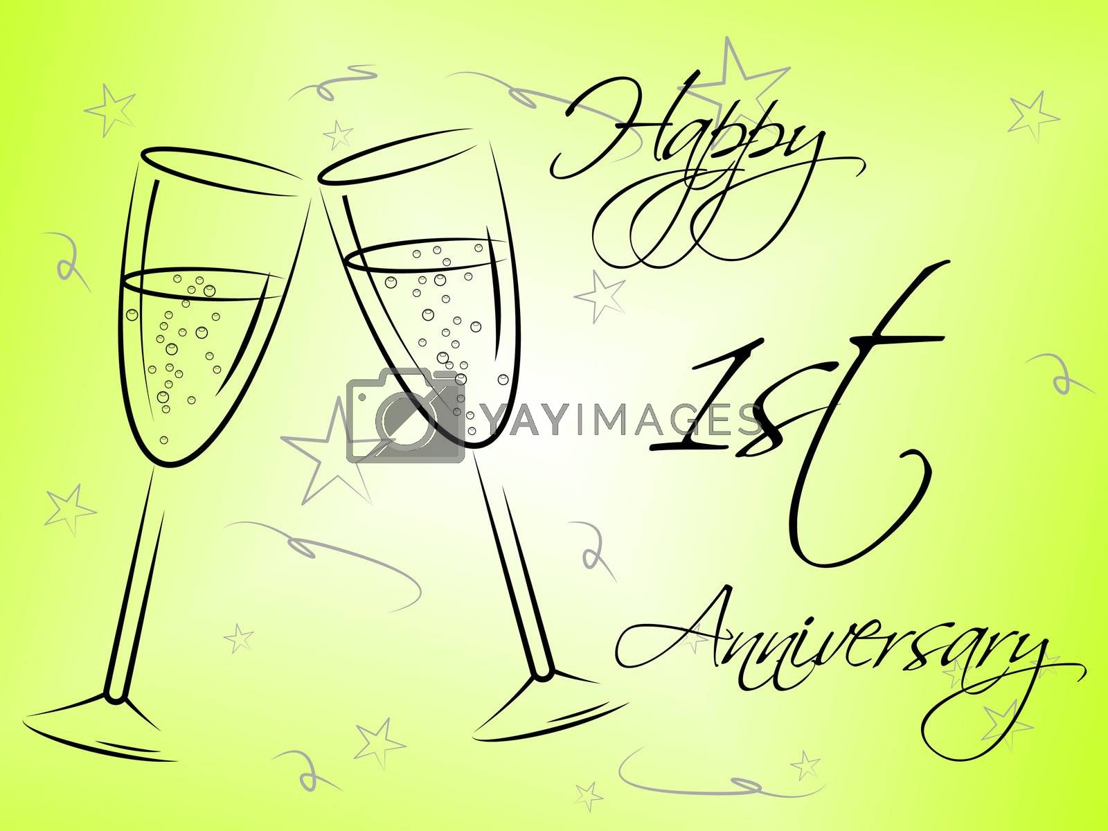 Happy First Anniversary Indicates Celebration Celebrations And Remembrance by stuartmiles