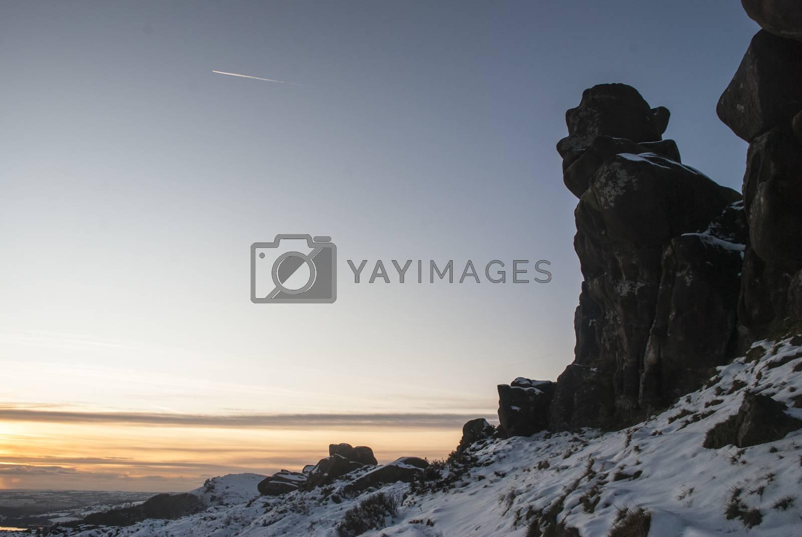 A statue shaped rock at Ramshaw Rocks, Staffordshire, England